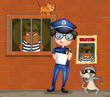 A policeman holding a pen and a paper with two cats in the jail