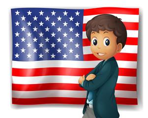 An American flag with a boy