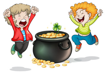Happy faces of two kids with a pot of money