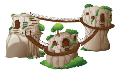 Tree houses with hanging bridges