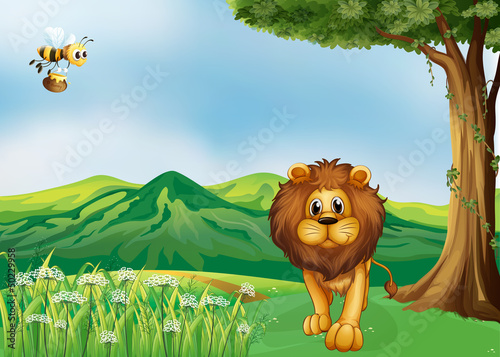 A lion and a flying bee at the hills