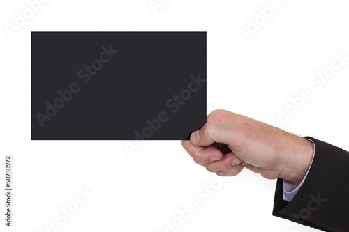 Man holding black card