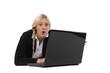 Woman surprised in front of a computer