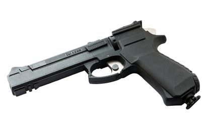 Modern pneumatic gun isolated on white background.