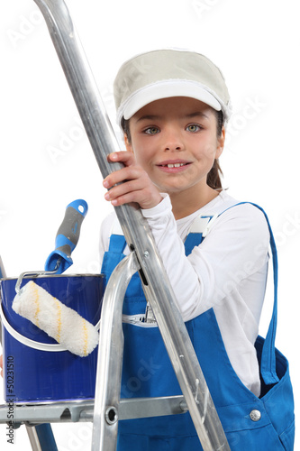 Girl dressed as a painter