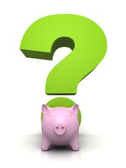 Savings and investment concept with piggybank and a question