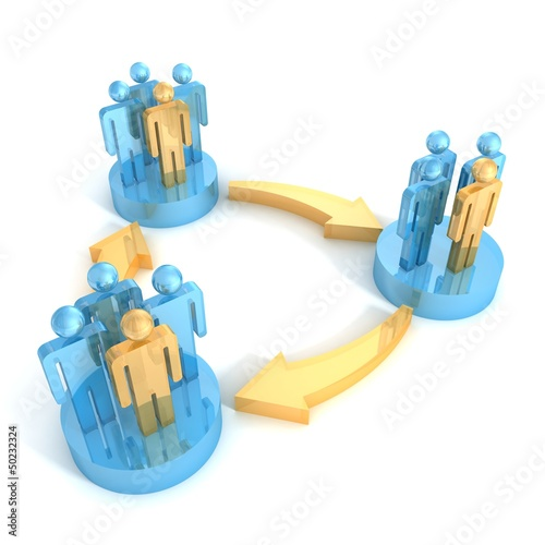 3d groups of people in Interaction with arrows