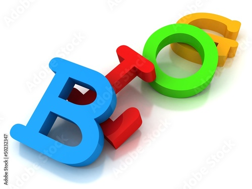 Blog text word from colorful 3d letters