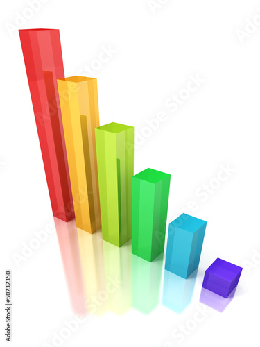 3D success business financial graphic bar chart