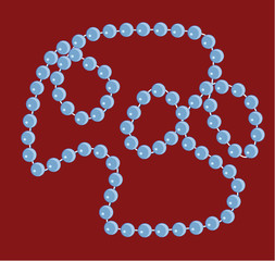 Beads necklace on a red background
