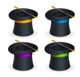 Magic hats vector set