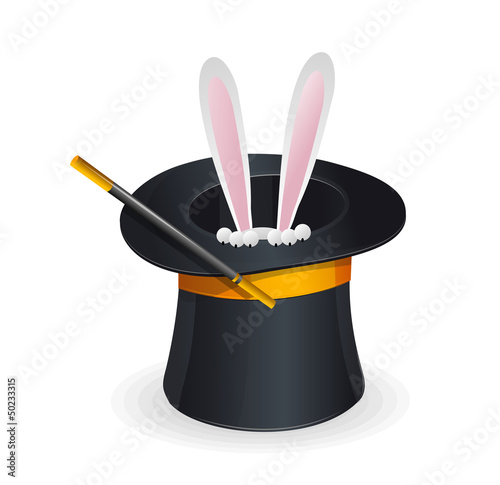 Magic hat vector and rabbit