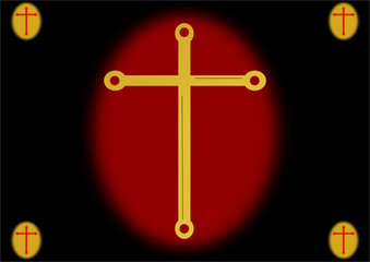 Golden cross on red background