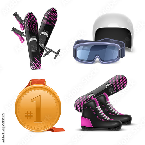 winter sports vector icon set