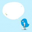 Blue Bird Leg In Plaster Speech Bubble Dots