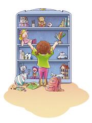niña con juguetes