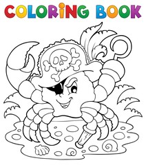 Coloring book with pirate crab