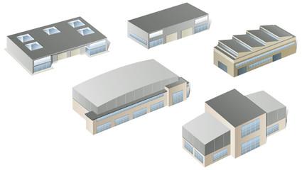 Vector industrial buildings and factories
