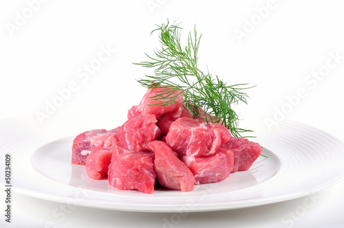 Fresh pork meat on white background