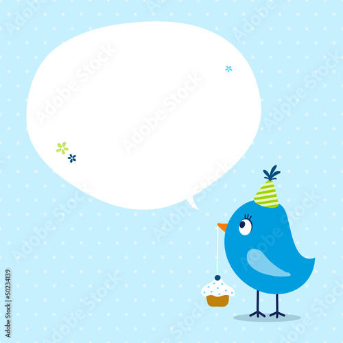 Blue Bird Cupcake Speech Bubble Dots