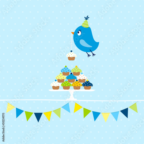 Flying Blue Bird 10 Cupcakes Festoons Dots