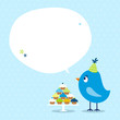 Blue Bird 10 Cupcakes Speech Bubble Dots