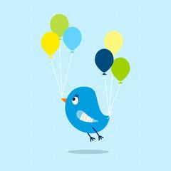 Blue Bird Broken Wing Speech Bubble Dots