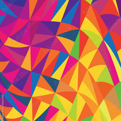 Multi-colored triangles background. Vector.