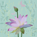 Pink lotus over abstract background with silhouettes plants