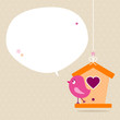 Pink Bird Birdhouse Speech Bubble Beige Dots