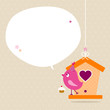 Pink Bird Cupcake Birdhouse Speech Bubble Beige Dots