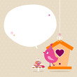 Pink Bird 10 Cupcakes House Speech Bubble Beige Dots