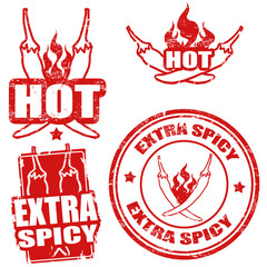 Extra spicy chili pepper stamps