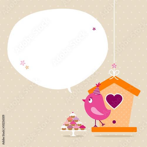 Pink Bird 10 Cupcakes House Speech Bubble Beige Dots