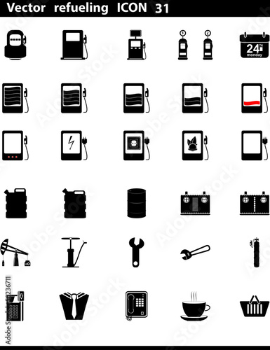 Vector icons set. Gas Station