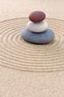 Three pebble stack zen garden