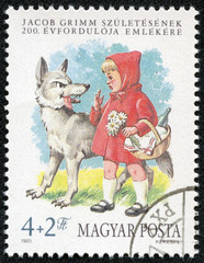 stamp shows Little Red Riding Hood and the Wolf