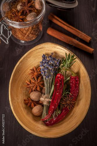 Spices: star anise, rosemary, chilli pepper, nutmeg and cinnamon