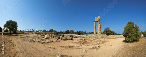 Apollo Temple at the Acropolis of Rhodes (panoramic view)