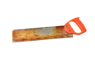 Vintage rusty saw, isolated on white background
