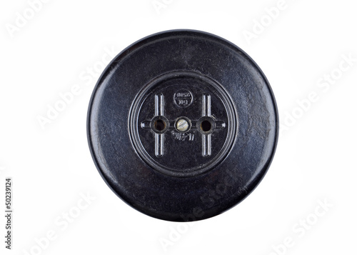 Vintage power socket, isolated on white background