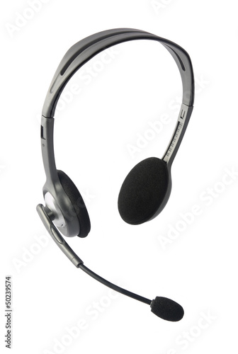 Headphone with Mic Isolated on White
