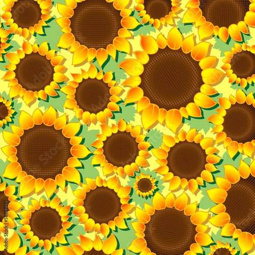 Sunflowers Pattern Background-Girasoli Sfondo-Vector