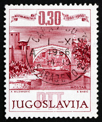 Postage stamp Yugoslavia 1965 Mostar Bridge, Neretva River