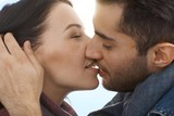 Loving couple kissing with passion