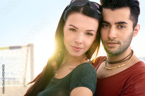 Close-up portrait of romantic couple