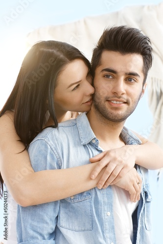 Loving couple embracing outdoor