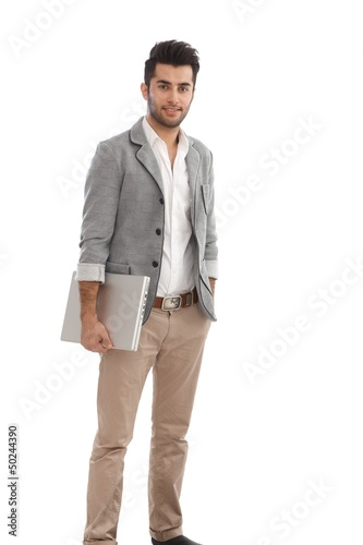 Casual young man with laptop