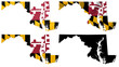 US Maryland state flag over map collage