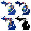 US Michigan state flag over map collage